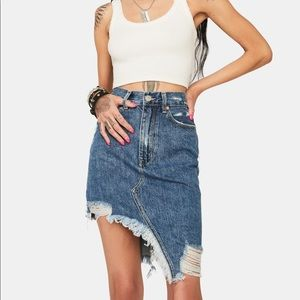 ZGY | Step Mum Denim Skirt, High Rise, Distressed
